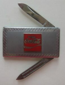 Coca Cola Money Clip Knife & File with Brushed Finish & Bright Silver Border