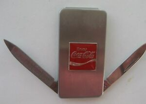 Brushed Stainless Coca Cola Money Clip  knife with Red Script Logo and Ribbon