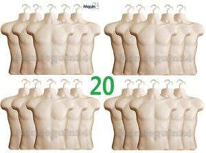 20 Pack Male Torso Mannequin Body Forms Flesh Men Clothing Hanging Display