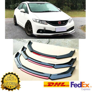 Glossy Black Front Bumper Lip Splitter For 2013 2015 9th Honda Civic Sedan Si Us