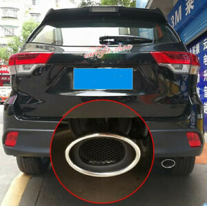 For Toyota Highlander 2015 2019 Stainless Rear Exhaust Muffler Tip End Pipe Trim