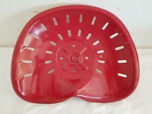 Vintage Red Metal Farm Tractor Implement Seat Agriculture Country Decor