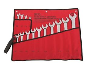 Sunex 14pc Sae Fully Polished V Groove Wrench Set Tools Inch Combination 9915