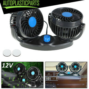 Dual Head 12v Car Fan Portable Vehicle Truck 360 Rotatable Auto Cooling Cooler