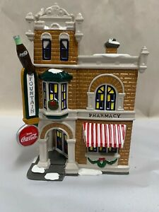 Dept 56 Coca Cola Soda Snow Village Christmas Building Corner Drugstore (A8)