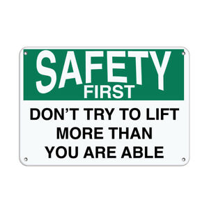 Horizontal Metal Sign Multiple Sizes Safety Don t Try Lift More Than You Able