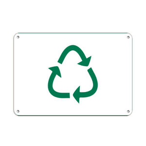 Aluminum Horizontal Metal Sign Multiple Sizes Recycling Activity White