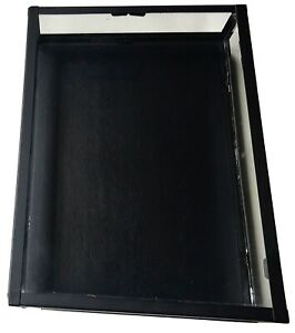 Glass Collectors Showcase Display Case Black Wood Metal Frame By H m new
