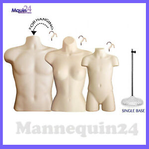 3 Dress Body Form Mannequins Male Female Child Torso Set 1 Stand 3 Hangers