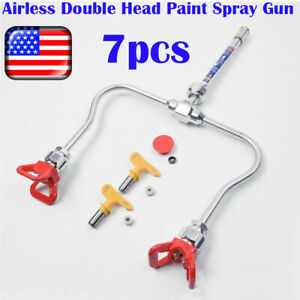 7 Pcs Airless Double Head Paint Spray Gun Tip Extension Pole Rod With Tip Guard
