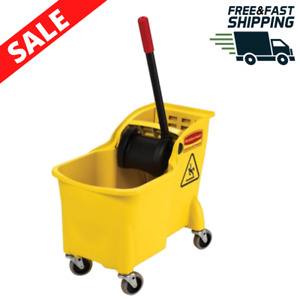 Commercial Mop Bucket 31qt Plastic Mopping Pail Large Rolling Cleaning Yellow