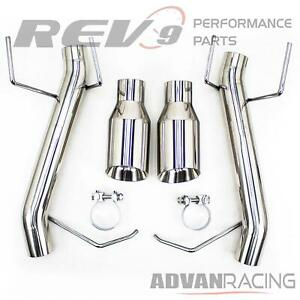 Axle back Free Flow Exhaust For Mustang V6 2011 14 Pipe Stainless Steel Rev9