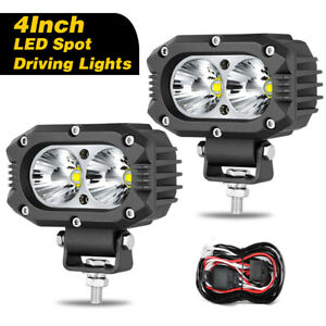 2 X 4 inch Led Driving Spot Lights Headlight Lamps Round Square Off Road Wiring