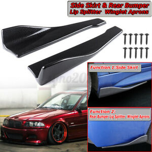 Carbon Fiber Universal Car Rear Bumper Lip Splitters Apron Spoiler Side Skirts