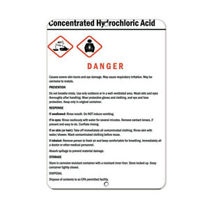Vertical Metal Sign Multiple Sizes Concentrated Hydrochloric Acid Skin Burns Eye