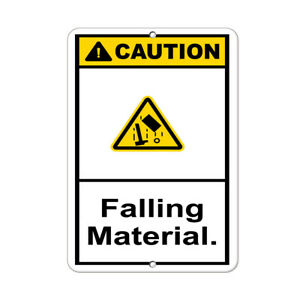 Vertical Metal Sign Multiple Sizes Caution Falling Material Hazard Construction