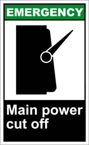 Vertical Metal Sign Multiple Sizes Main Power Cut Off Emergency Osha Ansi