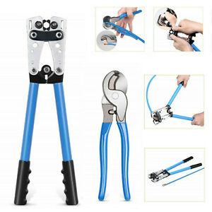 Cable Crimper And Cable Wire Cutter Tool Set For 10 8 6 4 2 1 0 Awg Wire