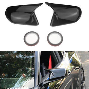2x Glossy Black Rear View Side Mirror Cover Cap For Ford Mustang 2015 20 Add On
