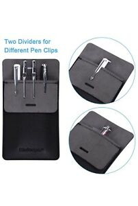Pocket Protector Leather Pen Pouch Holder Organizer For Shirts Small Black