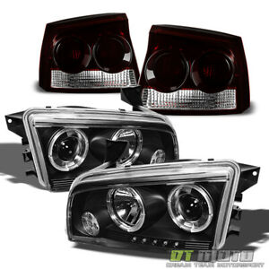 2009 2010 Dodge Charger Halo Projector Headlights dark Red Tail Lights Lamps