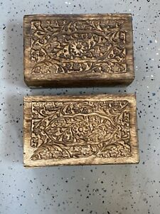 Vintage Small Wooden Box Jewelry Trinket Hand Carved Wood Inlay India