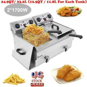 3400w 23 6l Electric Countertop Deep Fryer Dual Tank Commercial Restaurant Us