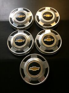 73 87 Chevy Dog Dish Hubcaps Set Of 5 C10 Pickup Truck Van 1 2 Ton 15