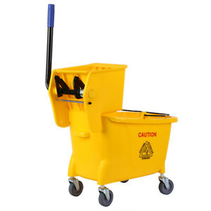 34 Quart Yellow Commercial Mop Bucket Side Press Wringer W Wheels Cleaning Tool