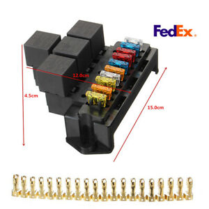10 Way 5 pin Waterproof Relay Fuse Block Holder Automotive Marine Fuse Box Truck