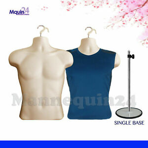 2 Torso Mannequin Body Forms Flesh Male 1 Stand 2 Hangers Man Clothing Display