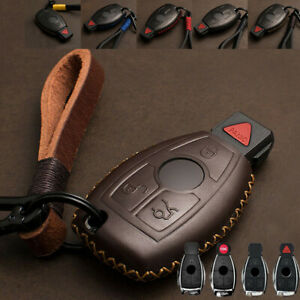 Real Leather Car Key Fob Case Cover Holder Chain For Mercedes Benz Accessories