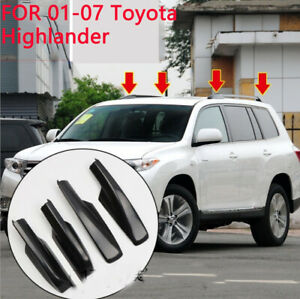 4x Black Roof Rack Cover Rail End Shell Replacement For 01 07 Toyota Highlander