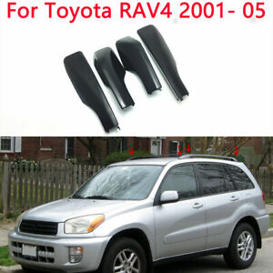 4x Black Roof Rack Cover Rail End Shell Replacement Fit For Toyota Rav4 2001 05
