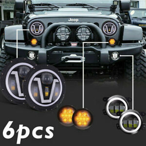 Combo Kit For 07 18 Jeep Wrangler Jk 7 Led Headlights 4 Fog Light Turn Signal