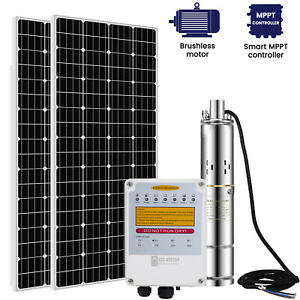 3#x27;#x27; Solar Bore Water Pump Deep Well Submersible Complete Kits amp; MPPTSolar Panel $1025.05