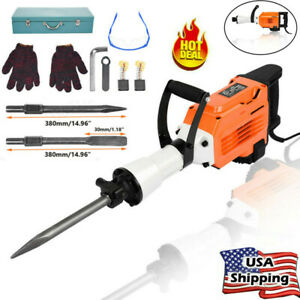 3500w 45j Electric Demolition Jack Hammer Concrete Breaker Punch 2 Chisel Bit