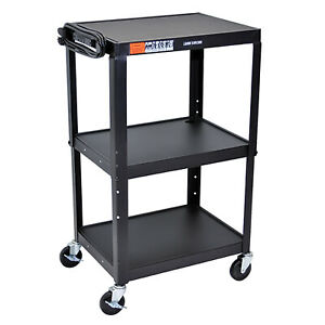 Luxor Adjustable Height Metal A v Cart With Casters 3 Steel Shelves