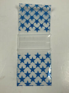 1 5 Inch Square Mini Zip Lock Bags With Blue Stars 1000 Pack