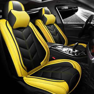 Luxury Pu Leather Car Seat Covers Front rear Set Universal 5 seats Car Suv Truck