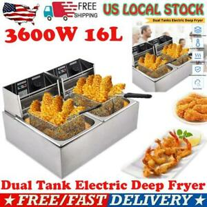3600w 16l Electric Deep Fryer Portable Dual Tank Basket Commercial Restaurant