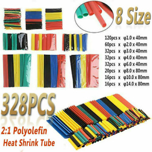 328 Pcs Cable Heat Shrink Tubing Sleeve Wire Wrap Tube 2 1 Assortment Kits Tools