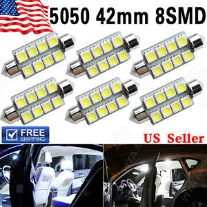 6 Pcs 42mm 5050 8smd Festoon White 212 2 578 569 Dome Map License Led Light Bulb