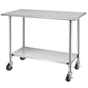 48 X 24 Nsf Stainless Steel Commercial Kitchen Prep Work Table Utility Cart