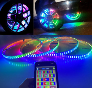 Double Row 17 5 Led Wheel Ring Lights Strobe Chasing Dream Color Rim Bluetooth
