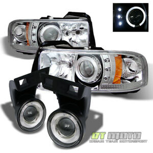 94 01 Dodge Ram Halo Projector Led Headlights halo Projector Fog Lights Lamps