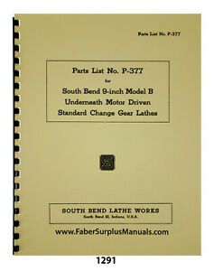 South Bend 9 Model B Lathe Standard Change Gear Lathes Parts Manual 1291