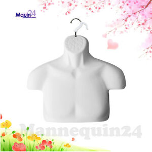 Male Torso Dress Form White Free standing Mannequin Removal Hanger