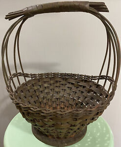 Antique Primitive Woven Twig Gathering Basket Hints Of Old Green Paint