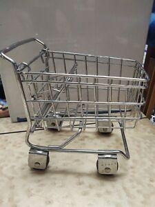 Vintage Mini Barbie Doll Size Metal Grocery Mall Shopping Cart Toy Basket Wheels
